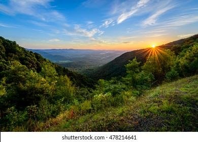 An amazing sunrise in the Blue Ridge Mountains at Lovers Leap near Meadows of Dan Virginia.