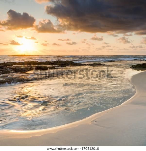 Amazing sunrise colours at the beach on Stradbroke Island, Queensland Australia