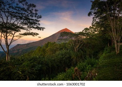 Amazing sunrise foggy view of Mount Inerie Volcano in Flores island