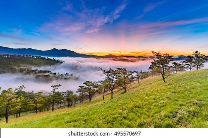 Amazing sunrise at Golden Hill , Golden Valley in Da Lat City, Famous View In Da Lat City Da Lat is highland city fog in the morning. Da Lat is one of the beautiful and the famous city in Viet Nam.