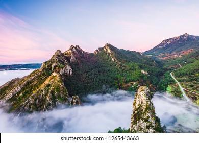 Amazing sunrise in the mountains (Sanctuari de Queralt, Berga, Pyrenees Mountains, Catalonia, Spain)