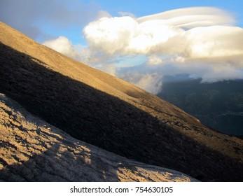 Amazing sunrise on Tungurahua volcano in Ecuador