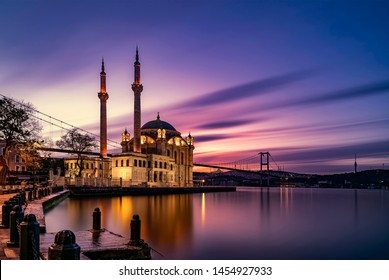 amazing sunrise at ortakoy mosque in istanbul, turkey
