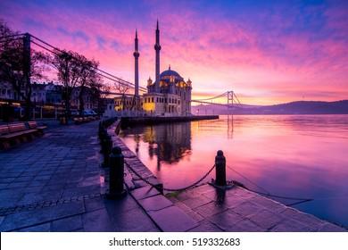amazing sunrise at ortakoy mosque, istanbul
