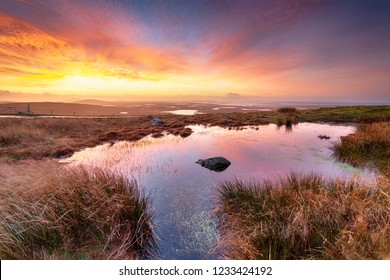 Amazing sunrise over North Uist from the top of Cleitreabhal a'Deas in the Western Isles of Scotland