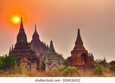 Amazing sunrise over the temple in Bagan. Myanmar.
