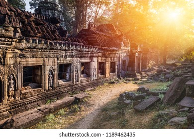 Amazing sunrise in Preah Khan Temple, Cambodia, Siem Reap, Angkor Wat