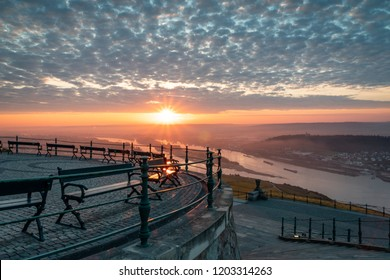 Amazing sunrise in Rudesheim am Rhein, Germany