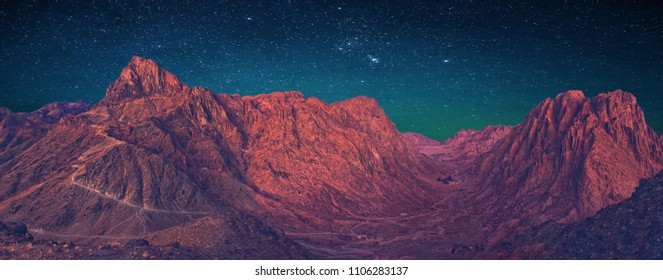 Amazing sunrise at Sinai Mountain, beautiful dawn in Egypt, Moses mountain panorama