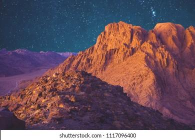 Amazing sunrise at Sinai Mountain, beautiful dawn in Egypt, Moses mountain