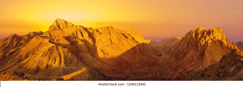 Amazing Sunrise at Sinai Mountain, Beautiful dawn in Egypt, early morning view of the top of Mount Moses