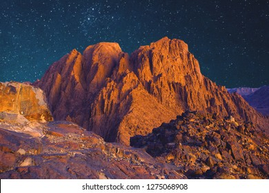 Amazing Sunrise at Sinai Mountain, Mount Moses with a Bedouin, View of the starry sky in the mountains