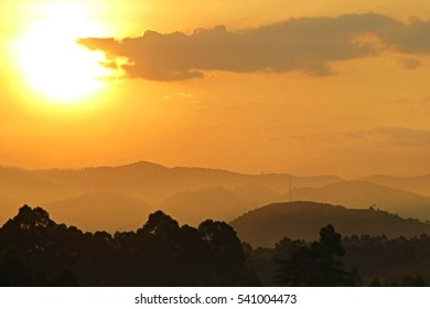 Amazing sunset in african congo, wild and nature in africa, beautiful landscape view, green jungle and mountains