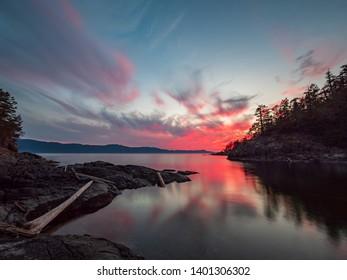 Amazing sunset along the coast of the sunshine coast in British Columbia, Canada