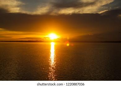 Amazing sunset in the amazonas river
