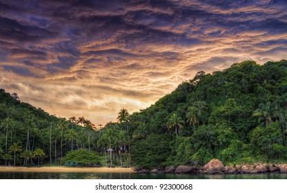Amazing sunset in Angra dos Reis, Rio de Janeiro, Brazil