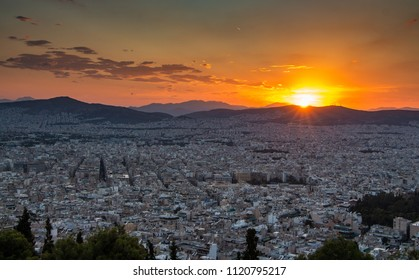 Amazing sunset in Athens, View from Lycabettus hill.