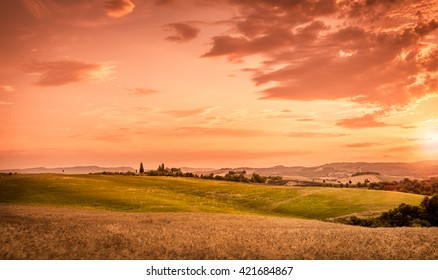 Amazing sunset and beautiful sky in Tuscany, Italy