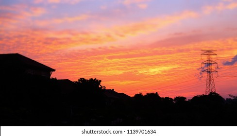 Amazing sunset with brilliant colour of sky at Klebang Village, Malacca, Malaysia.