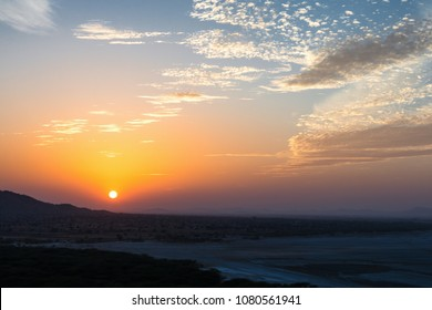 Amazing sunset captured from the top view point from a stone structure of vantage point at Sambhar lake, Rajasthan