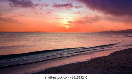 amazing sunset in ceuta, spain
