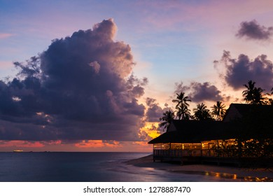 Amazing sunset clouds on tropical island
