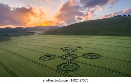 Amazing sunset at a crop circle