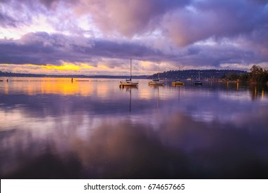 Amazing sunset at Gene Coulon Memorial Beach Park. Lake Washington, Renton, WA, USA