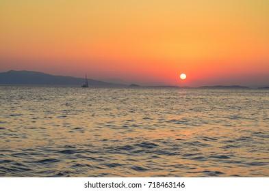 Amazing sunset in Greece over the argosaronic gulf. Majestic landscape near Aegina island, Greece, Europe