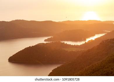 Amazing sunset image of lake at island Mljet in Croatia.Europe