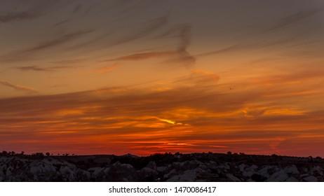 Amazing sunset in Kapadokya, TURKEY