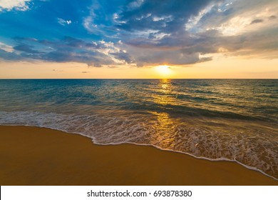 Amazing sunset landscape. Tropical  sea in Thailand. Beautiful nature background. Water inspiring paradise. Hot beach in summer sand. Luxury idyll resort. Travel panorama.