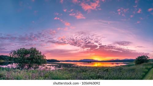 Amazing sunset at Loch Creran, Barcaldine, Argyll,Scotland - UK