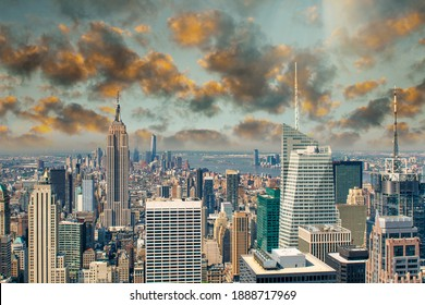 Amazing sunset of Manhattan skyscrapers, New York City aerial view at dusk