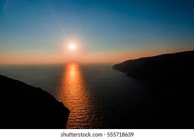 Amazing sunset at mediterranean sea