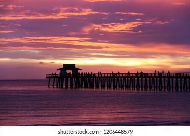 Amazing sunset in Naples pier
