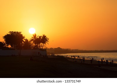 Amazing sunset on the beach in Muscat, Oman