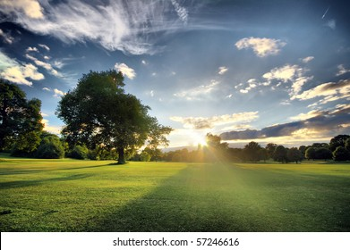 Amazing sunset on a golf-course (HDR)