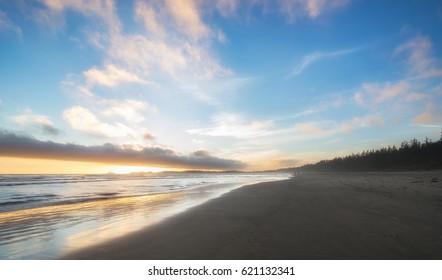 Amazing sunset on Long Beach, Vancouver Island, British Columbia, Canada