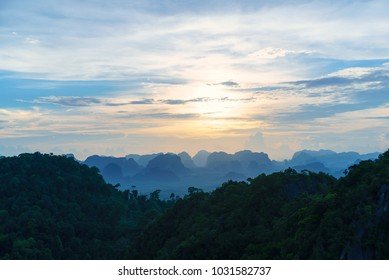 Amazing sunset over beautiful Krabi mountains, Thailand