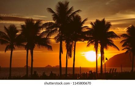 Amazing sunset over Ipanema beach in Rio de Janeiro