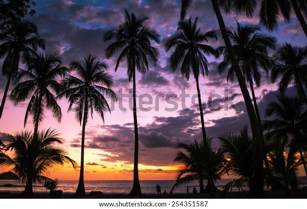 Amazing sunset over Manuel Antonio Public Beach in Puntarenas, Costa Rica