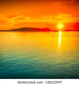 Amazing sunset over the sea.
