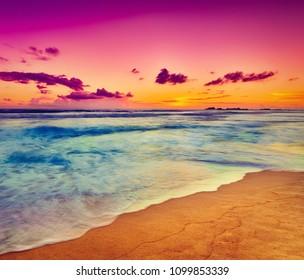 Amazing sunset over the sea. Beautiful landscape. Sri Lanka