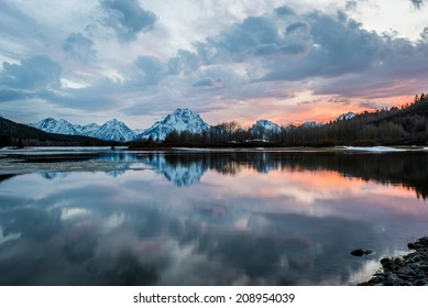 Amazing Sunset at Oxbow Bend in Grand Teton National Park