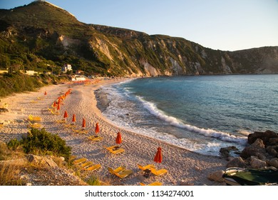 Amazing sunset panorama of Petani beach, Kefalonia, Ionian Islands, Greece