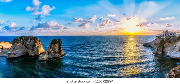 Amazing Sunset at Raouche Rock