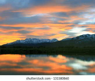 Amazing sunset reflection in Utah's Wasatch Mountains, USA.