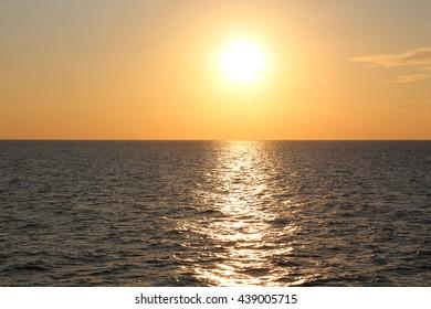 Amazing sunset in Sanorini island, Thira, Cyclades, Greece