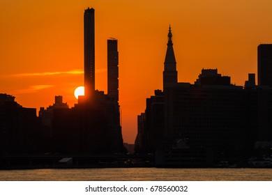 Amazing  sunset scene in Manhattan New York / Amazing sunset scene in New York / We can see amazing sunset scene  from East river in New York.